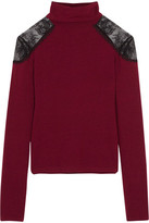 Alice + Olivia Krystalle Lace-Trimmed Stretch-Knit Turtleneck Sweater