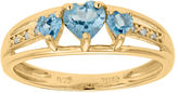 JCPenney FINE JEWELRY Genuine Blue Topaz and Diamond-Accent 3-Stone Heart Ring