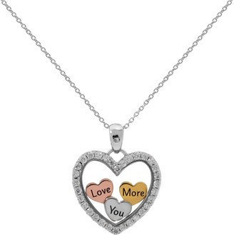 "Hallmark Tri-Tone Sterling Silver Cubic Zirconia ""Love You More"" Heart Pendant"