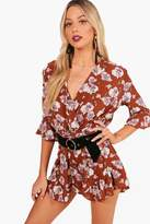 boohoo Annalise Floral Wrap And Ruffle Playsuit