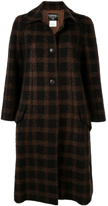 Chanel Pre Owned CC long sleeve tweed coat