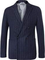 Giorgio Armani - Blue Upton Slim-fit Pinstriped Virgin Wool-blend Hopsack Blazer
