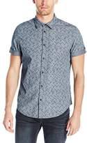 Calvin Klein Jeans Men's Short Sleeve Indigo Herringbone Button Down Shirt