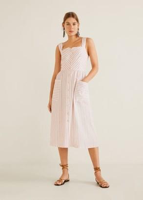 MANGO Striped linen dress pastel pink - 2 - Women