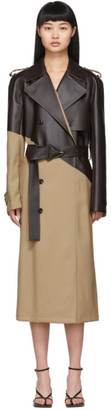 Bottega Veneta Tan and Brown Leather Trench Coat
