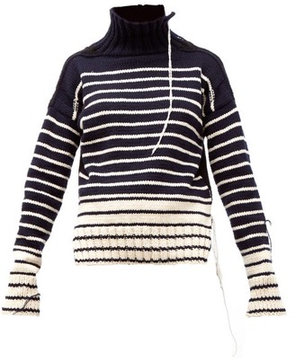 La Fetiche - Maurice Distressed Striped Wool Sweater - Womens - Navy White