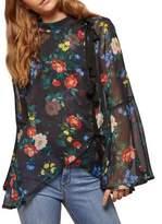 Miss Selfridge Floral Bow Bell Sleeve Blouse