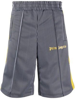 Palm Angels Logo-Print Striped Track Shorts