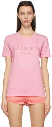 Balmain Pink Crystal Logo T-Shirt