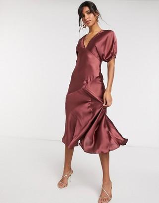 ASOS DESIGN puff-sleeved satin maxi tea dress in mocha