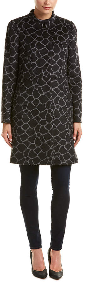 Cinzia Rocca Novelty Printed Alpaca & Wool-Blend Coat