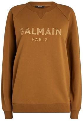 Balmain Satin-Logo Sweatshirt