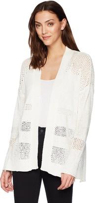 Three Dots Women's mesh Stitch Long Loose Cardigan