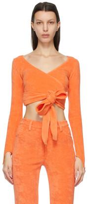 MAISIE WILEN Orange Dramady Wrap Cardigan