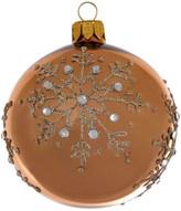 Christmas Shop 8CM BAUBLE GLASS GLITTER SNOWFLAKES BRONZE