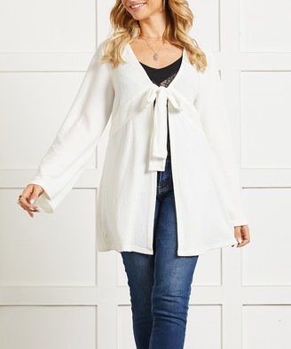 Suzanne Betro Women's Cardigans 111WHITE - White Tie-Front Ruffle-Hem Cardigan - Women & Plus