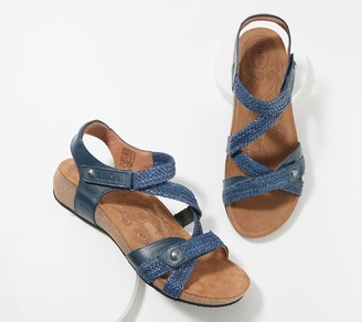 Taos Leather Woven Strap Adjustable Sandals- Trulie