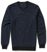 Vince Camuto Slim-Fit Mixed Yarn Long-Sleeve V-Neck Sweater