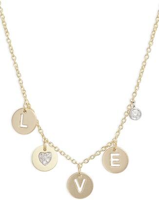 Meira T Love Diamond Charm Necklace