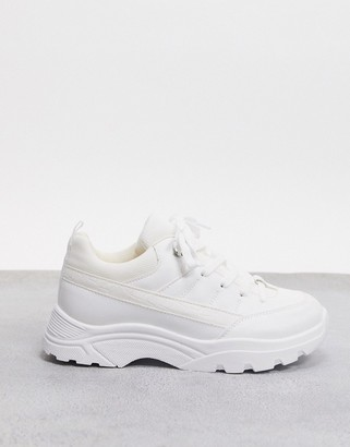 ASOS DESIGN Domino hiker trainers in white mix