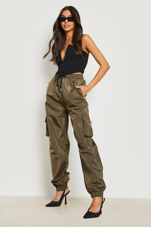 Thumbnail for your product : boohoo High Waist Pocket Side Shell Joggers