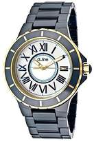 A Line a_line Women's Marina Silver Dial Gold Accents Blue Ceramic