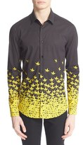 Versace Men's Trim Fit Star Print Shirt