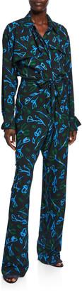Christian Wijnants Ozana Printed Silk Jumpsuit