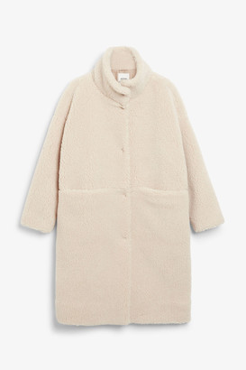 Monki Long teddy coat