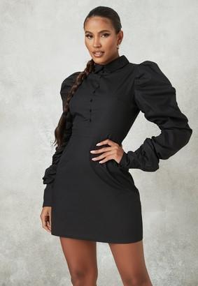 Missguided Black Puff Sleeve A Line Shirt Dress