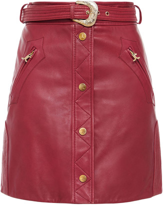 Just Cavalli Belted Leather Mini Skirt
