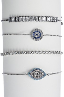 Eye Candy La Luxe Rhodium-Plated Crystal Stack Evil Eye Adjustable Bracelet Set