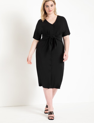 ELOQUII Tie Waist Button Front Dress