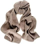 Black Light Brown Cashmere Rib Knit Scarf