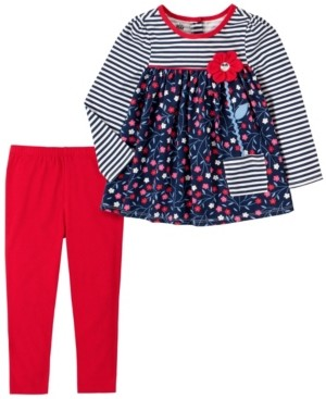Kids Headquarters Baby Girls Stripe with Floral Tunic Legging Set