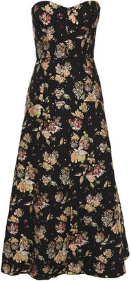 Rochas Strapless Fluted Brocade Gown