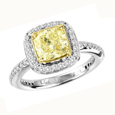Zales 2-1/2 CT. T.W. Fancy Yellow Radiant-Cut and White Diamond Frame Ring in 18K White Gold (SI2)