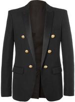 Balmain - Black Slim-fit Double-breasted Cotton Blazer
