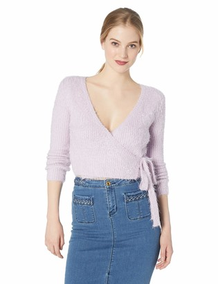 ASTR the Label Women's WRAP Front Soft Fuzzy Long Sleeve Sweater