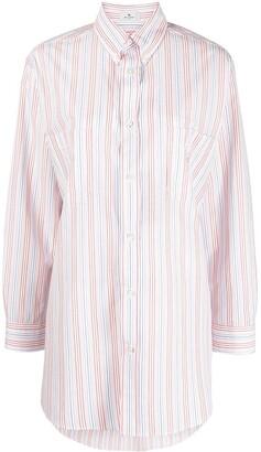 Etro embroidered Pegaso striped shirt