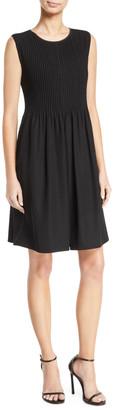 Emporio Armani Sleeveless Pintucked-Bodice Dress