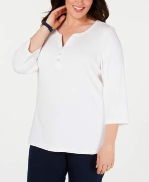 Karen Scott Plus Size Cotton Split-Neck Top, Created for Macy's