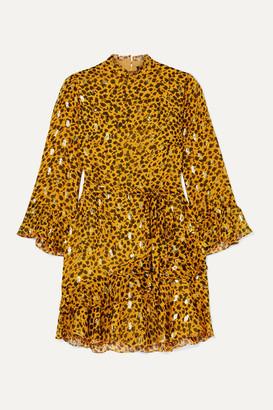 Saloni Venyx Marisa Leopard-print Fil Coupe Silk-blend Chiffon Mini Dress - Gold