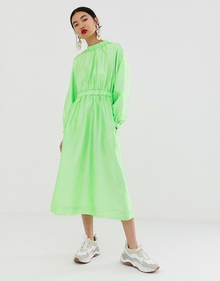 ASOS textured gathered neck dress