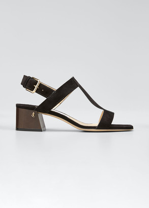 Jimmy Choo Jin Suede Block-Heel Sandals