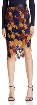 Astr Betty Multi-Color Floral Lace Midi Skirt