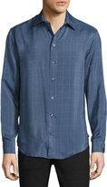 Armani Collezioni Windowpane Fine-Stripe Silk Sport Shirt, Blue