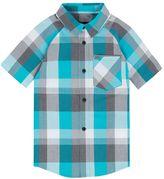 Hurley Boys 4-7 Raglan Short Sleeve Woven Plaid Shirt
