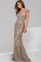 Jovani Cap Sleeve Embellished Floral Applique Evening Dress 48121