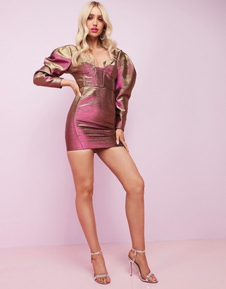 Asos Design DESIGN Luxe long sleeve cupped two tone mini dress-Gold